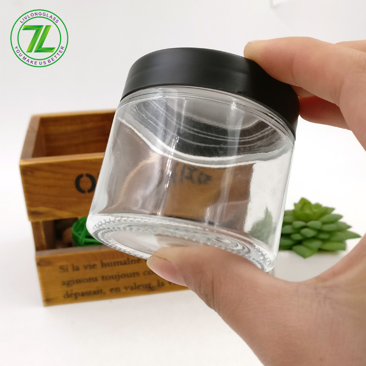 wholesale 90ml no neck glass bottle 3oz straight side jar with plastic covers