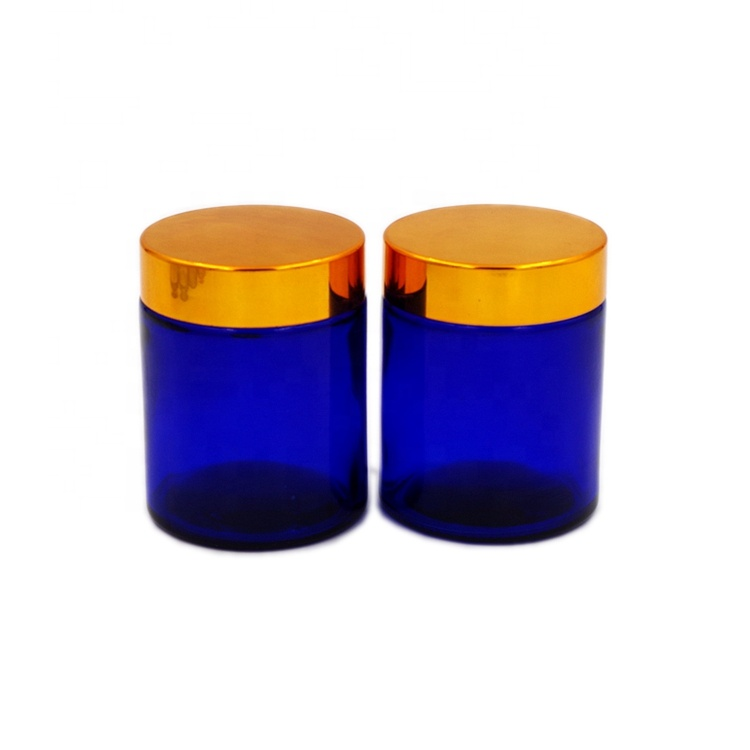4 oz 120ml Cobalt Blue Straight Side Round Cosmetic SkinCare Cream Glass Jars with Golden Lid