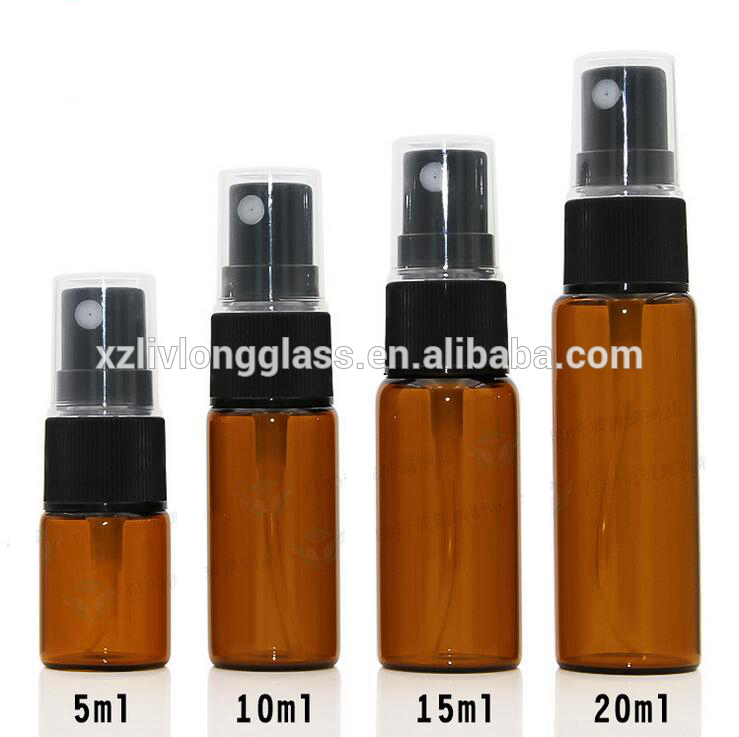 5ml 10ml 15ml 20ml Amber Spray Glass Bottle with Pump Sprayer