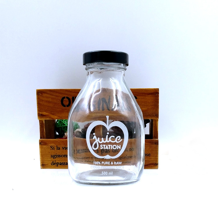 16oz short square juice glass bottles 500ml empty cold brew coffee bottle with black metal cap