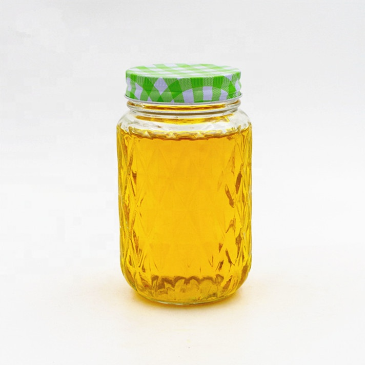 pineapple shaped clear 500ml honey bee glass mason jar 16oz summer cold juice packaging glass jar with screw colourful lid Featured Image