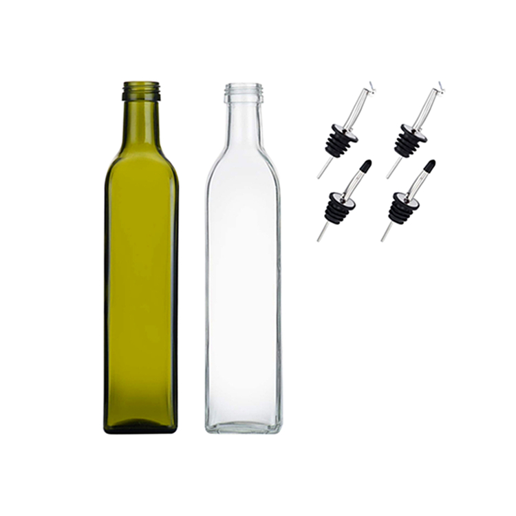 500ML 16 OZ Square Glass Olive Oil Bottles Dispenser Oil Cruet Funnel for Kitchen