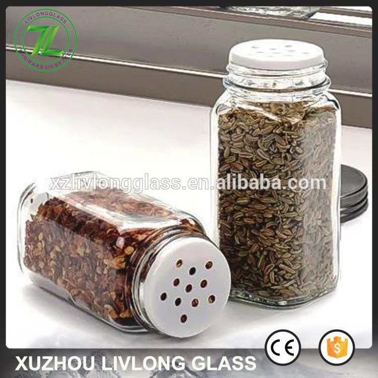 hot sale 120ml square herbs bottle 4oz empty glass spice jars with shaker lids
