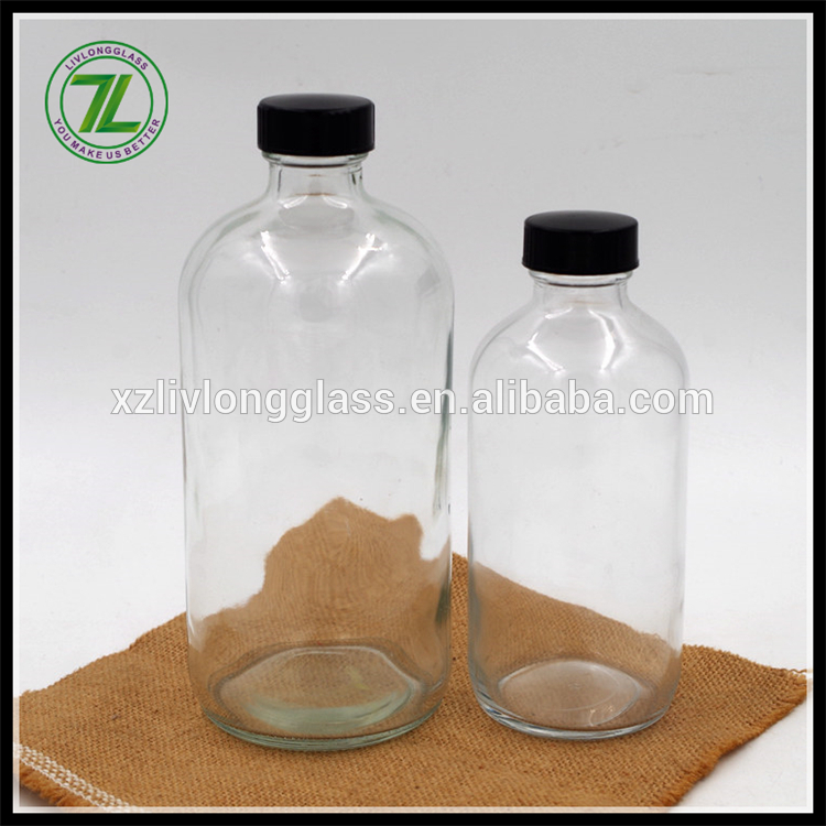 customize 8oz 16oz clear boston round bottle 250ml 500ml boston round glass bottle with black lid