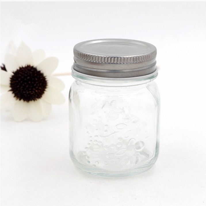 carving clear 4oz  mason glass jar food storage bottle for beverage juice summer drinking with stainless split lid for jam sauce