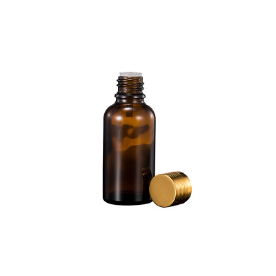 hot sale 30ml  Amber Boston Round Glass Bottle for Oral solution With Pump Sprayer Cap and White inner cover 1oz