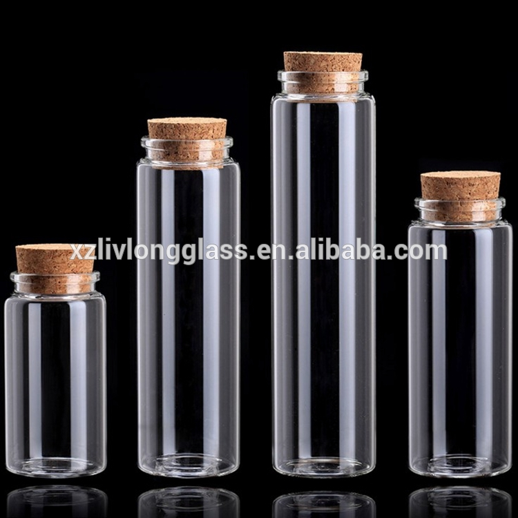 Reasonable price for 200ml Pudding Jar - Diameter 47mm Clear Borosilicate Glass Tube Jars Vails with Cork Top Lids – LIVLONG
