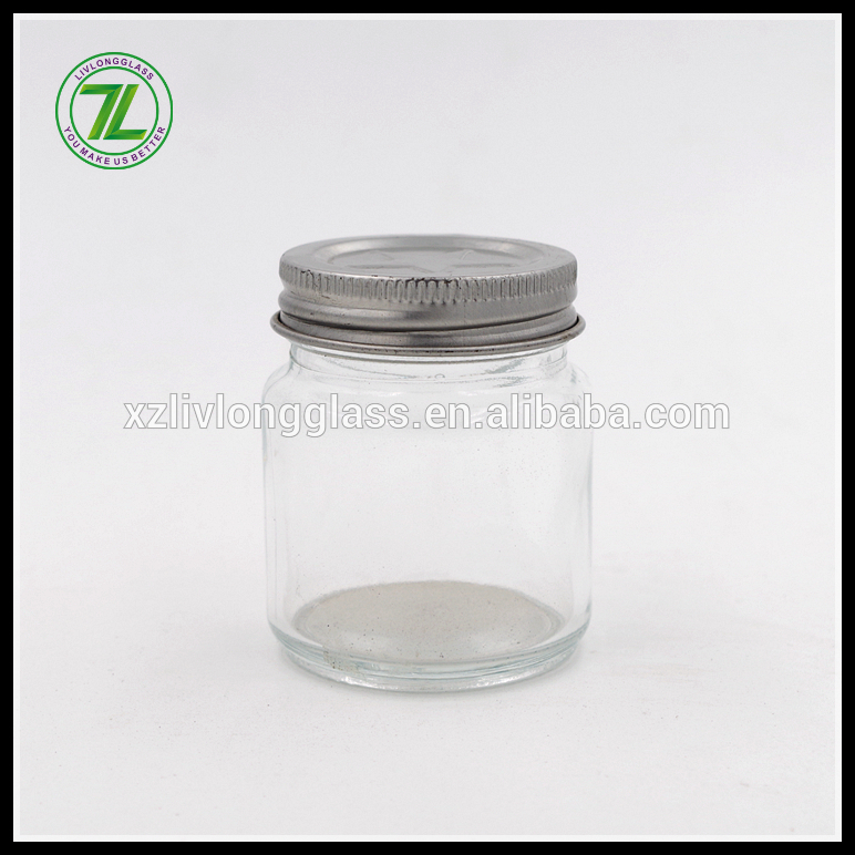 customize 60ml shot glass 2oz mini glass mason jar with silver screw cap