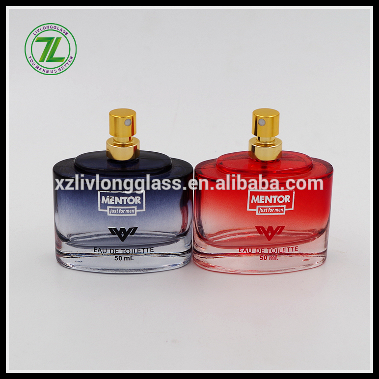 50ml colored men perfume bottle with aluminum golden sprayer