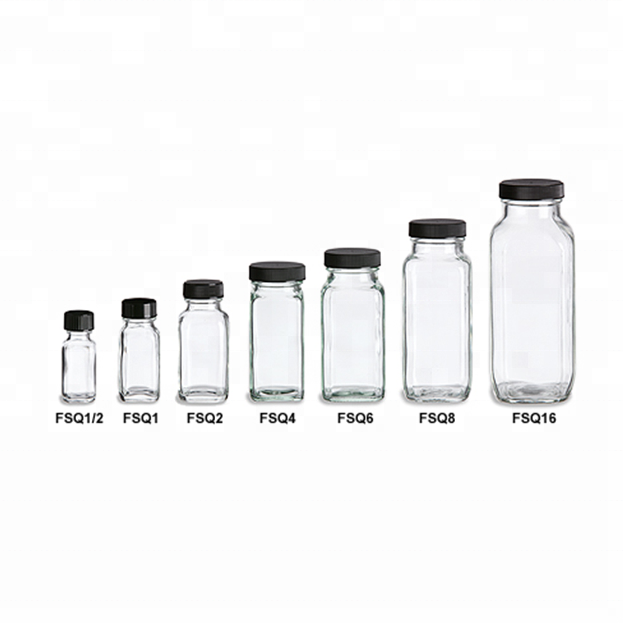Wholesale Price China Hexagon Glass Food Container - Clear French Square Shape Cold Pressed Juice Glass Bottles with Screw Caps – LIVLONG