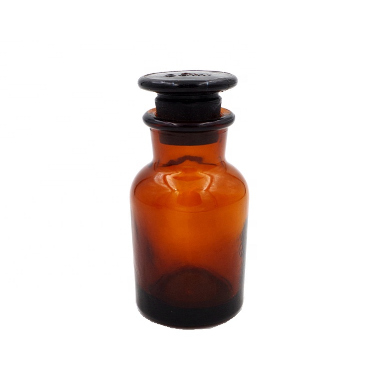 60ml Amber Wide Mouth Chemical Reagent Glass Bottles with Airtight Glass Stopper