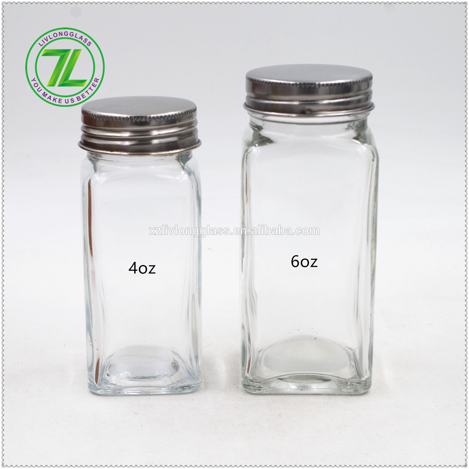 Glass 4oz Spice Jar Set with Silver Metal Lids Shaker Insert Tops 120ml wholesale