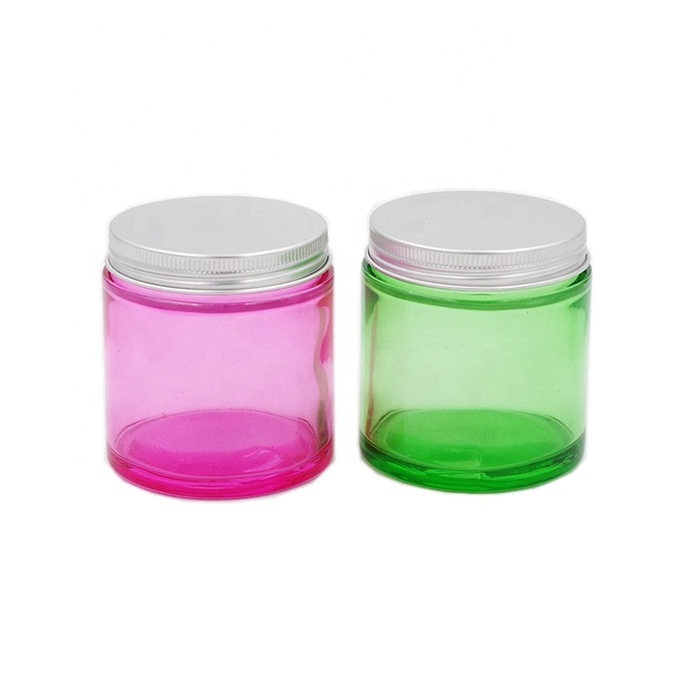 4 oz 120ml Colored Straight Side Round Refillable Cosmetic Cream Glass Jars with Aluminum Lids