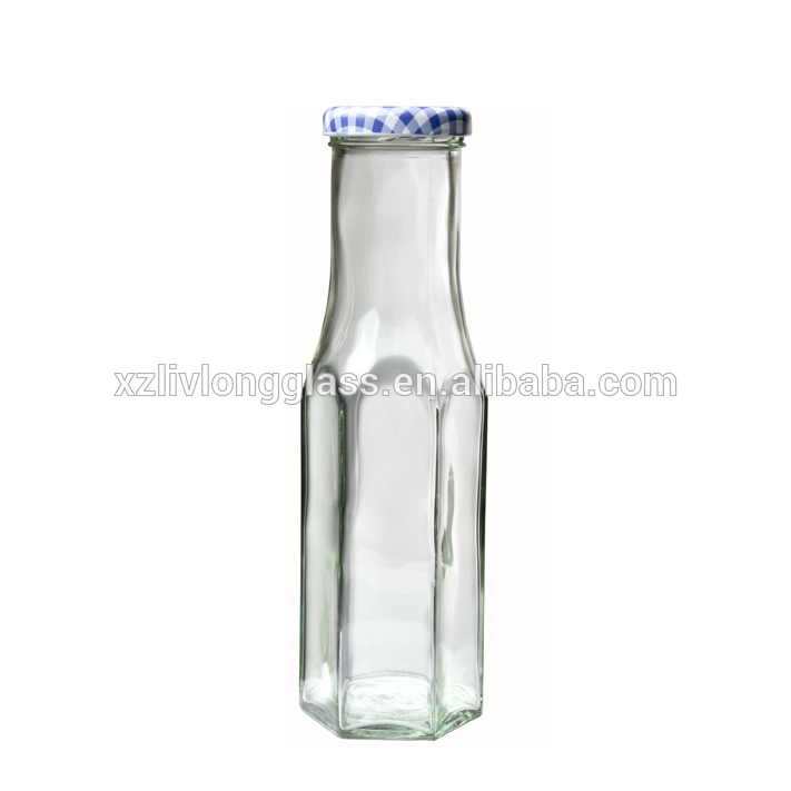 8.5 oz 250 ml Hexagon Tall Clear Glass Decanter Sauce Bottle with Gold Lid