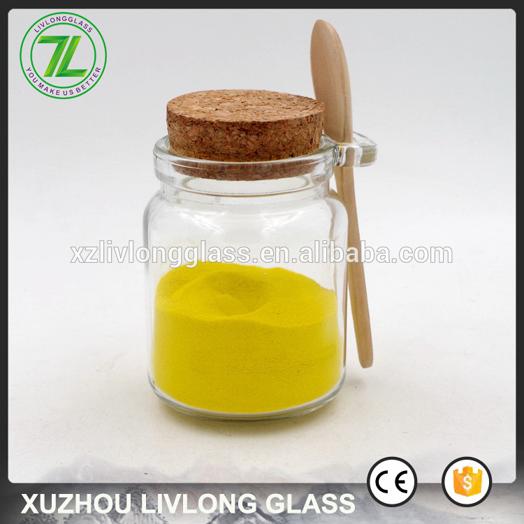 customized 8oz wooden lid spice jar 240ml wholesale glass jar with spoon Featured Image