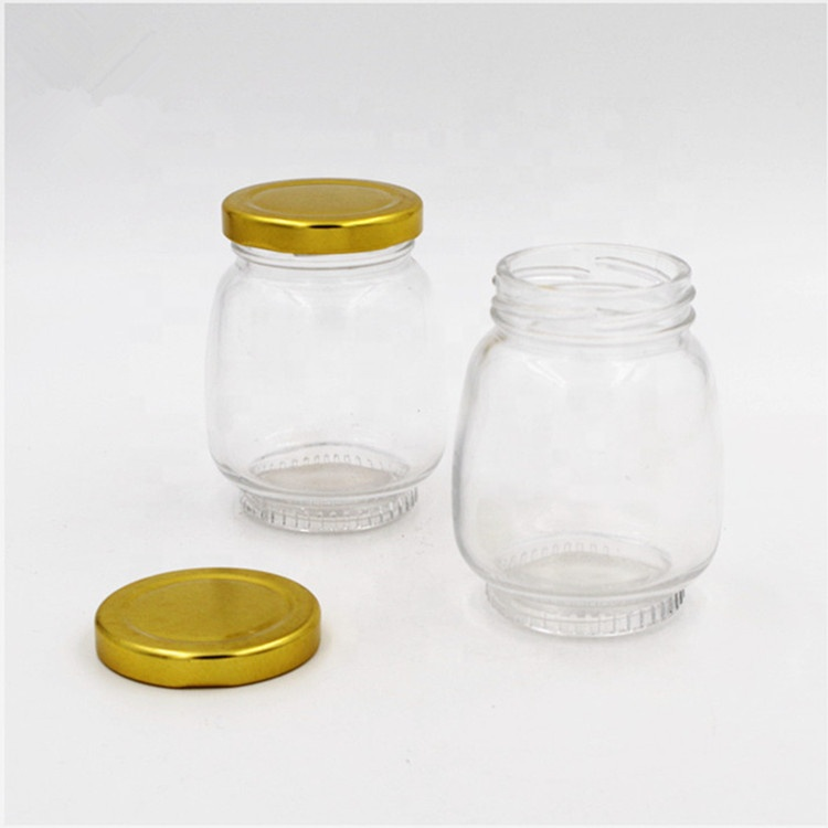 stocked flint 200ml oval glass honey bottle jam sauce jar 6oz glass mason jar container