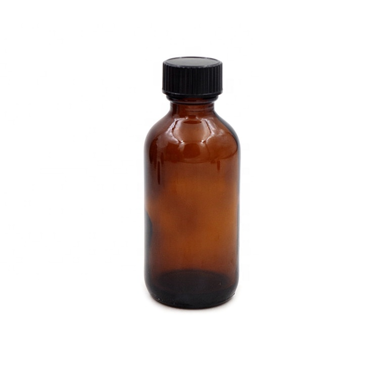 60ml 2 oz Empty Amber Boston Round Glass Bottles with Screw Cap