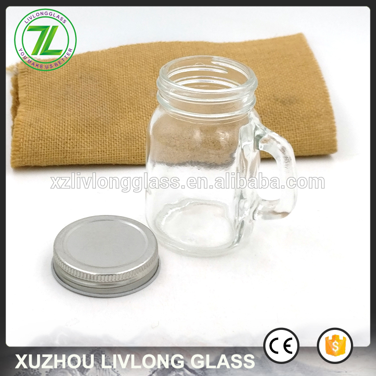 square shape 120ml clear storage bottle 4oz glass mini mason jar with handle and lids