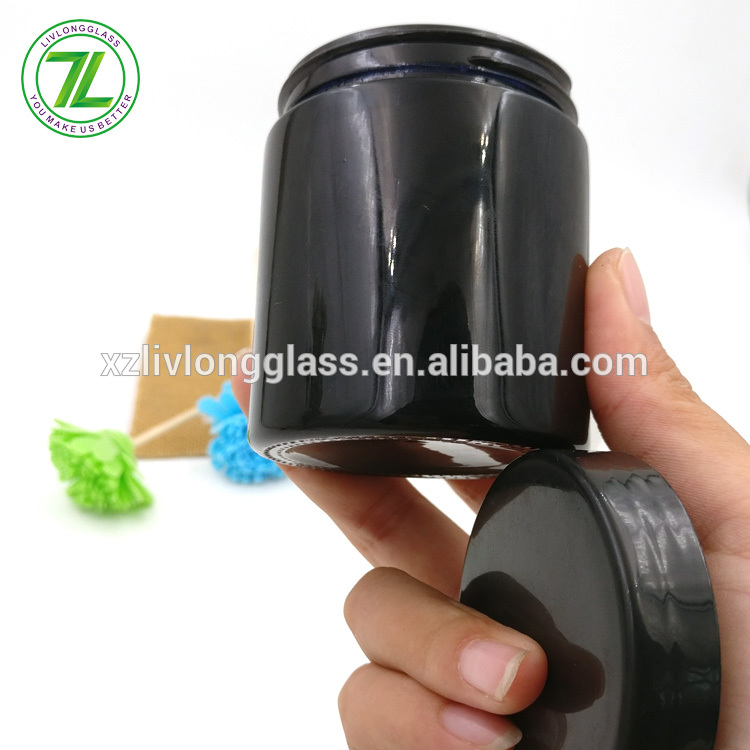 customize 120ml round marijuana jar 4oz black straight sided glass jar with plastic tops