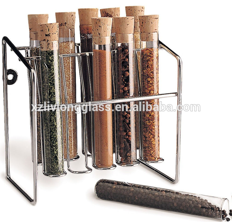 Herb Spice Rack Glass Spice Tubes Jars Bottles