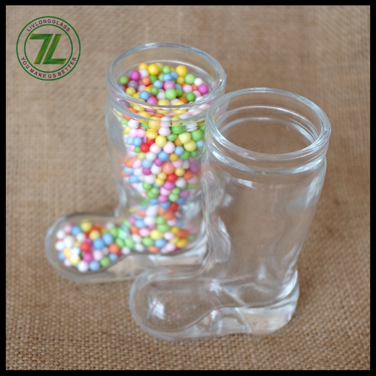 mini shoes shaped portable clear 30ml fancy  candy glass jar chocolate glass jar for decoration