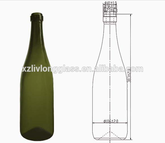 1500ml Green Glass Champagne Bottle with Cork