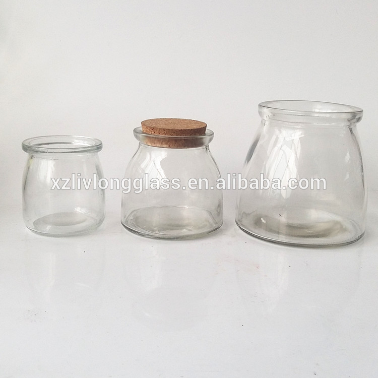 200ml large Glass pudding jar mason jar with cork