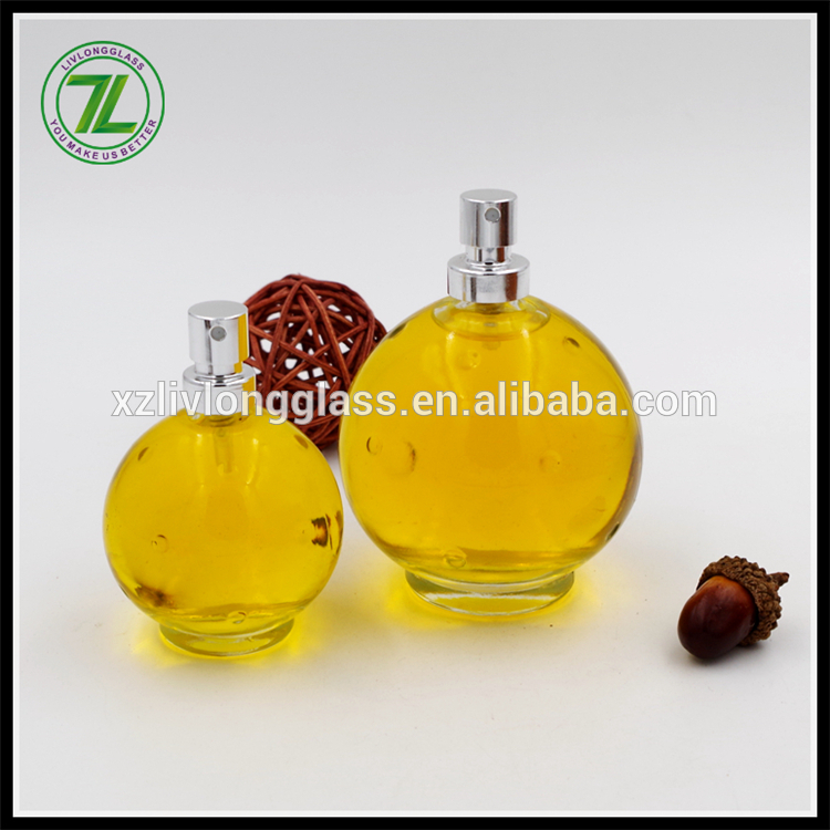 Spherical Clear Glass perfume Bottle
