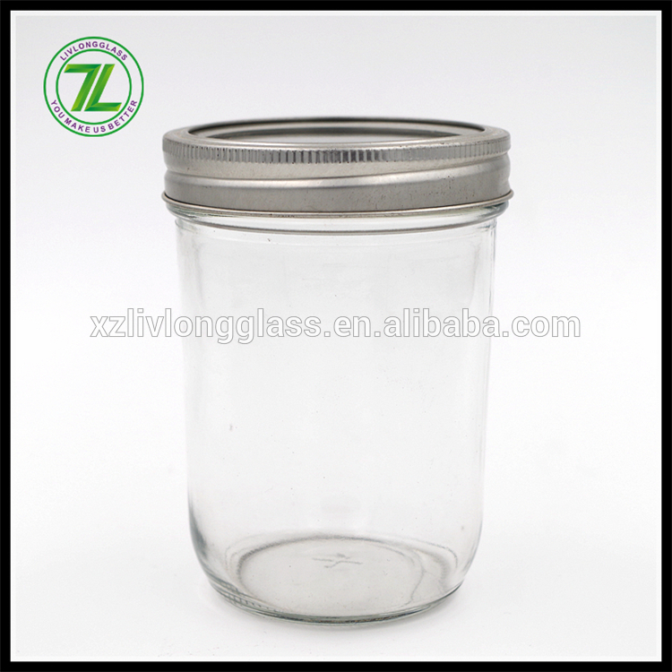 Mason Jar Tapered Glass 8 oz w/ Gold Lid