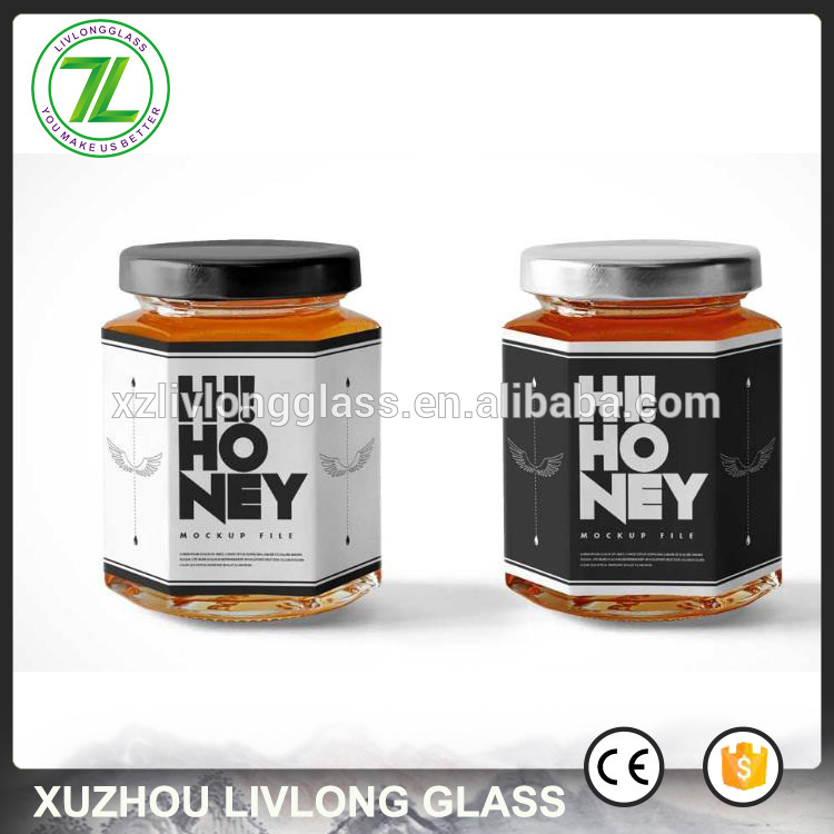 hexagon shape 150ml 6oz glass honey bottle with lug lids and private labels
