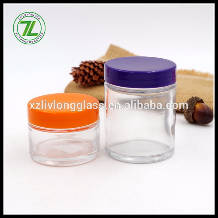 custom design 1oz straight sided packaging bottle 2oz glass jar with plastic screw cap