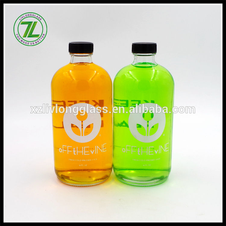 custom design 8oz 12oz cold pressed juice bottle 16oz clear boston round glass bottle with black plastic cap