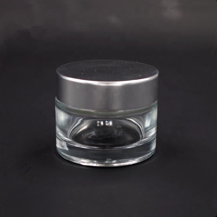 50ml Clear Cosmetic Skin Care Cream Glass Jars with Silver Lid