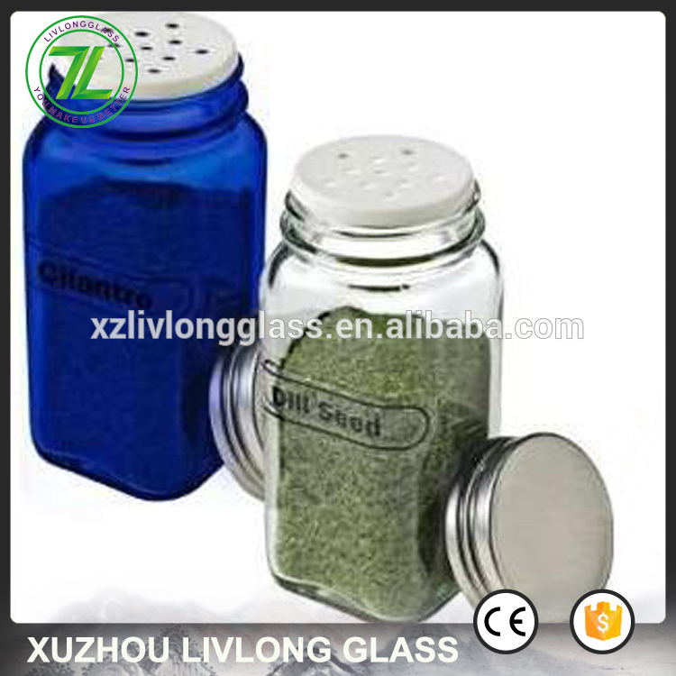 4oz salt and pepper glass jar 6oz square glass spice shaker with shaker holes and pour holes