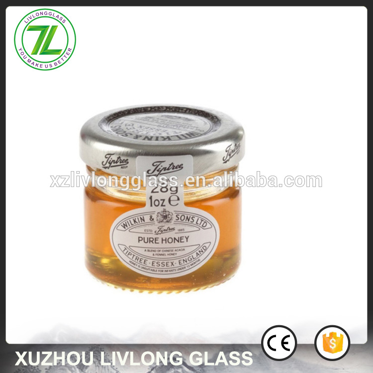 mini empty 28g marmalade jar 20ml glass jam bottle with silver lids