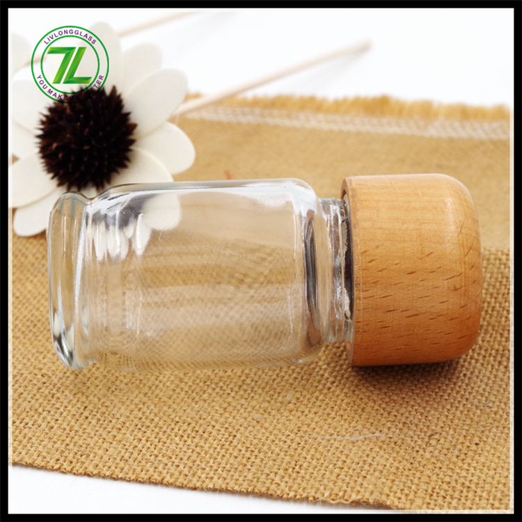 clear 60ml 2oz portable outdoor BBQ spice pepper  salt dispenser glass jar with bamboo lid and plastic hole shake dispenser