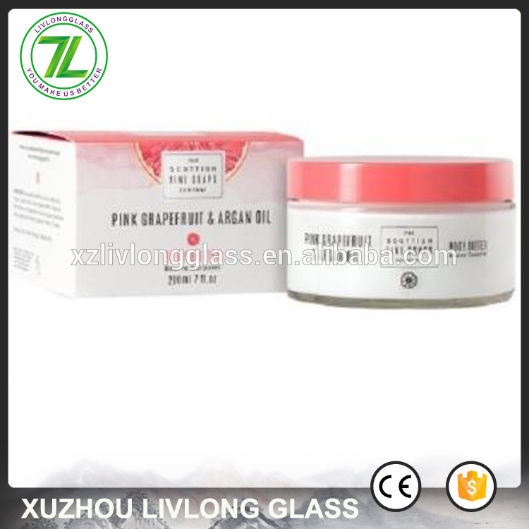 wide mouth 200g cosmetic cream packaging 200ml 8oz body scrub glass jars with plastic lids