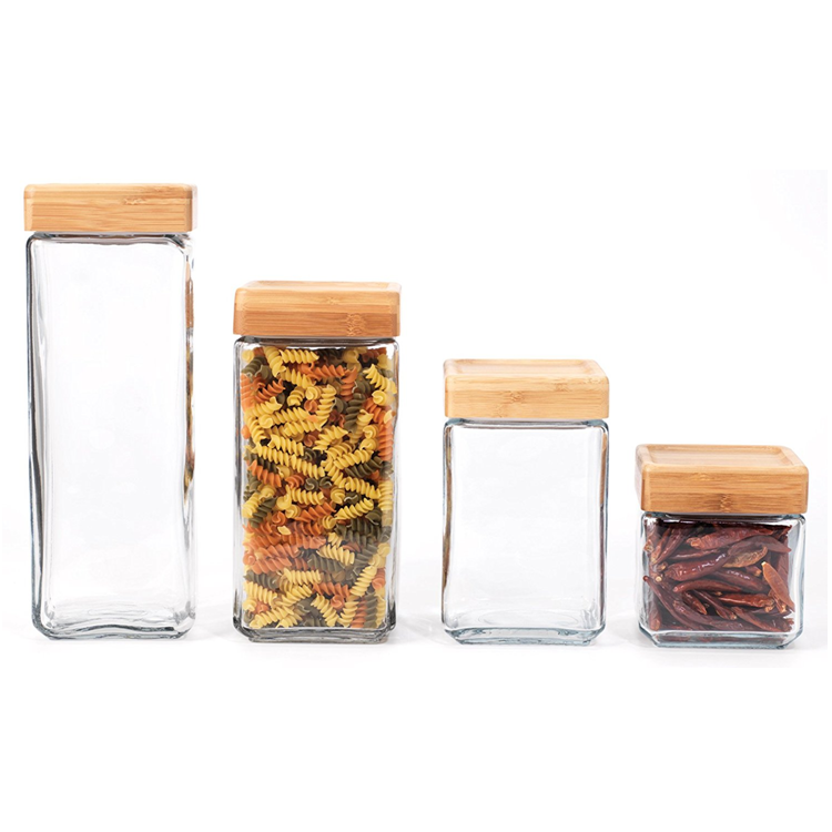 factory sale square  clear scented tea glass jar food storage container bottle medicine pill glass bottle with bamboo  lid cover
