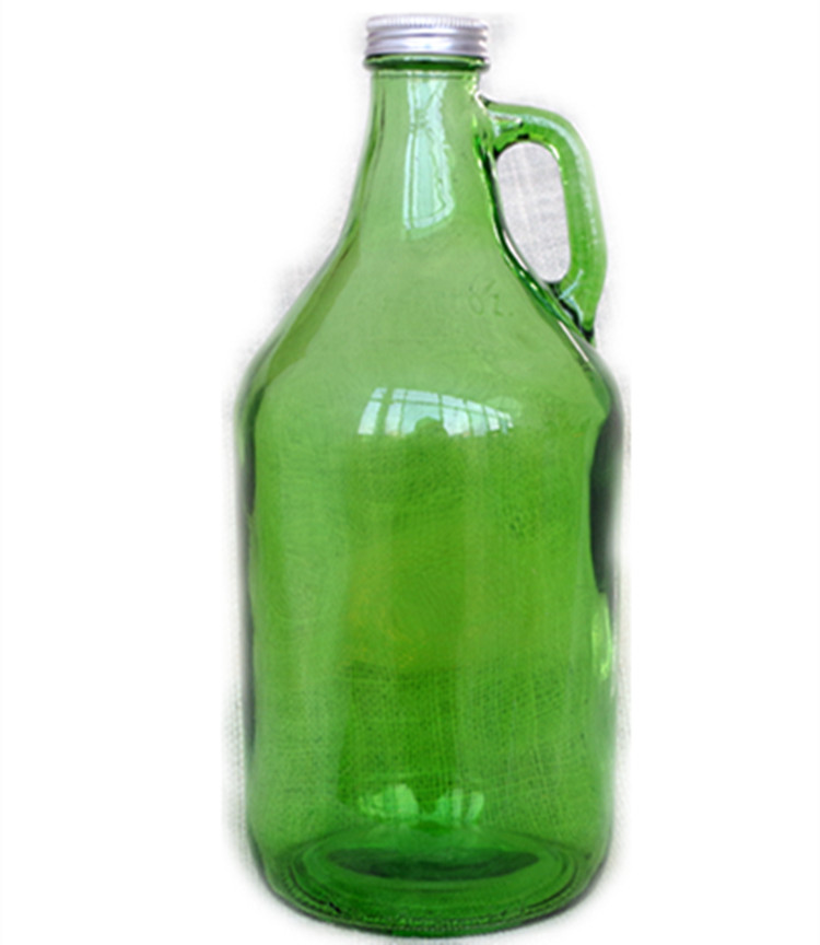 cheap  eco lead free high capacity green 1.5L glass jug  wine oil sauce  glass bottle pot  with aluminum lid and ear handle
