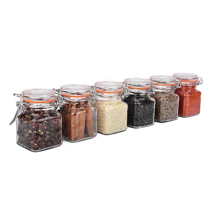3.4 oz clear square Spice Jars Value Pack 100ml Airtight Glass Bottles for Spices Condiments Seasonings home party favors
