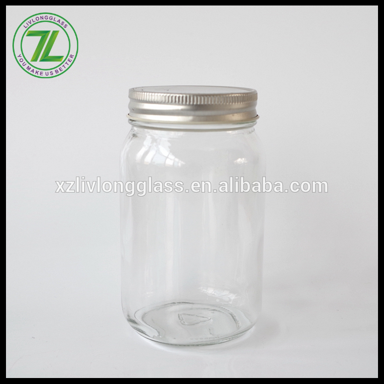 500ml glass mason jar container with 70mm metal screw lid