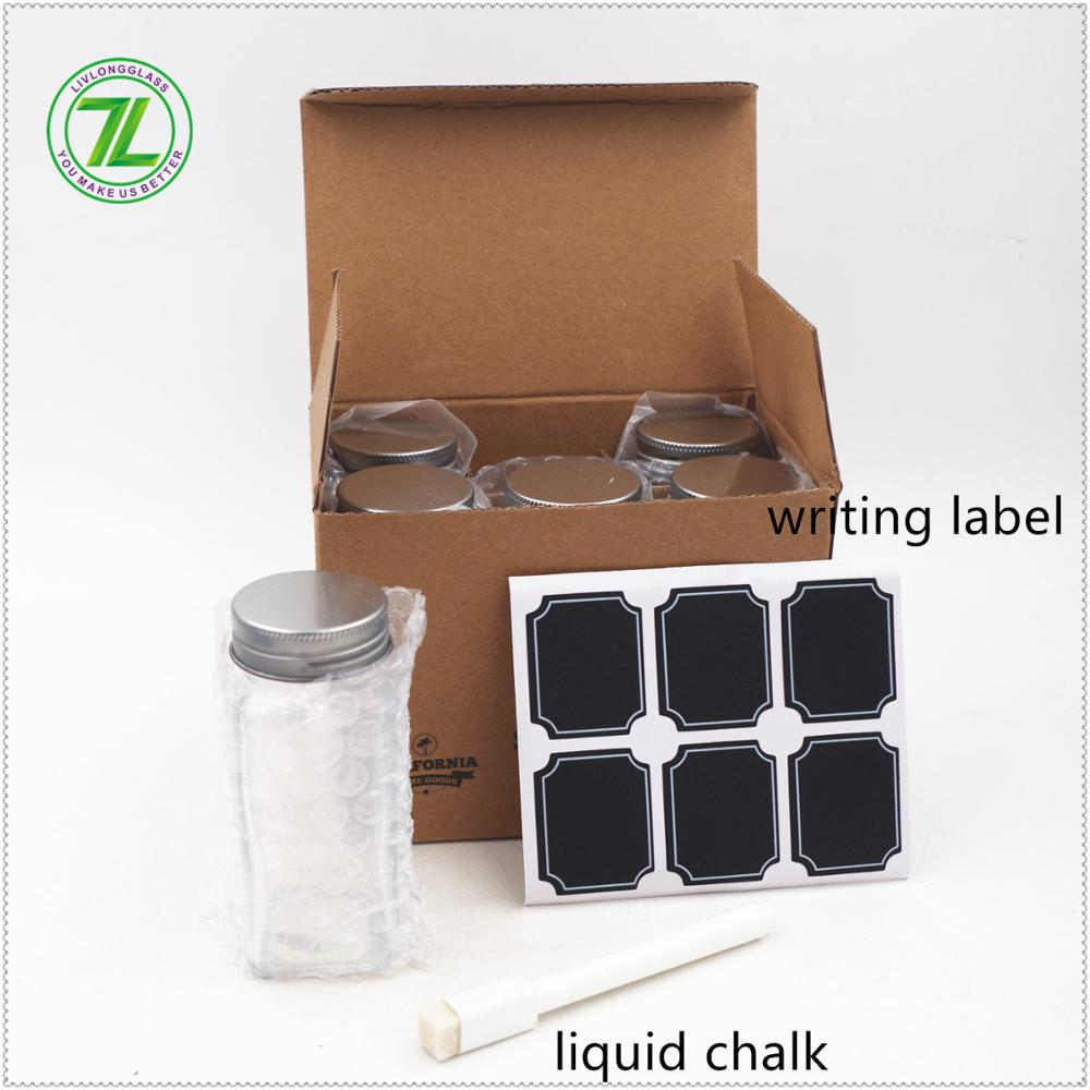 stocked!! welcoming 4oz set packaging spice glass jar with writing label and liquid chalk for salt dispenser