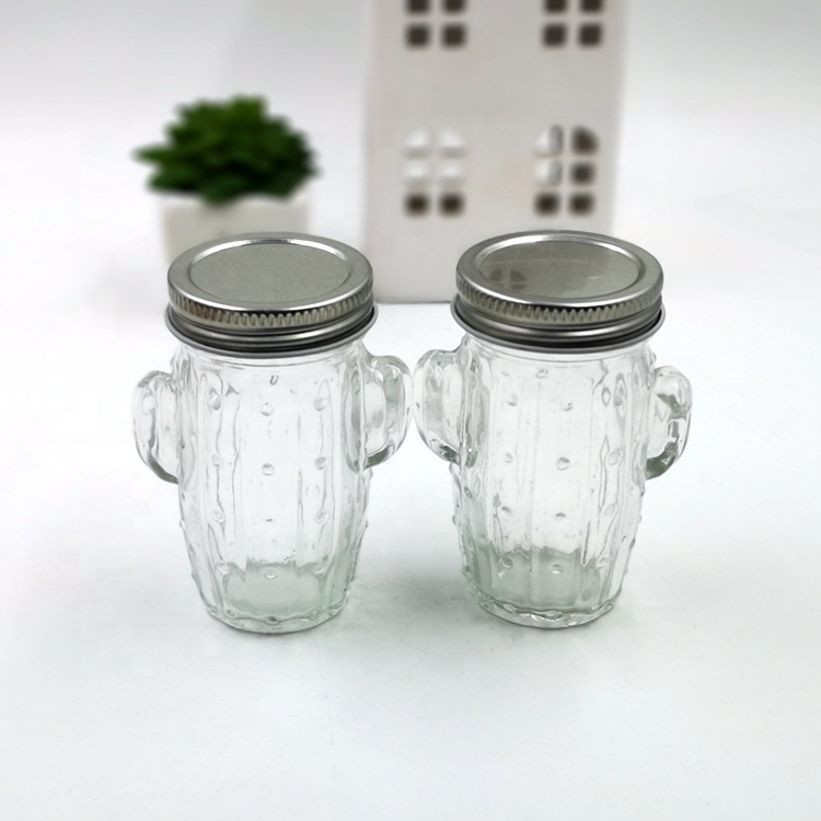 80ml Cute Unique Cactus Shape Glass Bottles Great for Candy Gift and Decoration