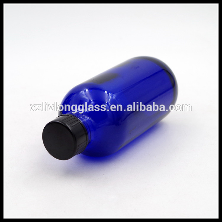 120ml 4 oz Cobalt Blue Boston Round Glass Bottles with Airtight Cap