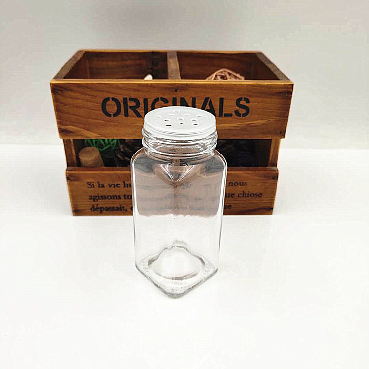 wholesale 2oz salt clear glass spice jar 60ml pepper square glass spice bottle with hole cover