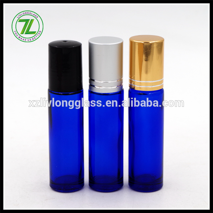 10ml Empty Blue Refillable Roll On Glass Bottle