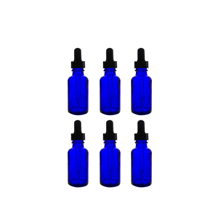 New Fashion Design for Boston Round Bottles - Blue Amber 4oz Glass Bottles with glass dropper for essential oil – LIVLONG