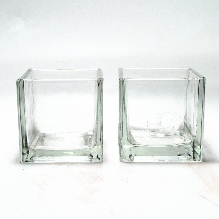 wholesale square clear gift art glass candle holder  glass jar for wedding or house decoration or creating romantic atmosphere