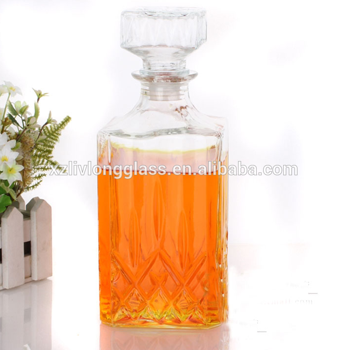 WHOLESALE Fancy Square Liquor Wine Glass Bottle with Glass Stopper Featured Image
