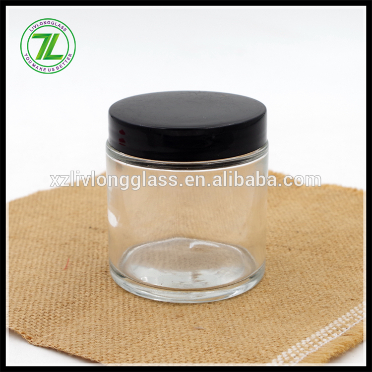 custom design glass packaging 90ml straight sided jar 3oz airtight food jar with black screw cap